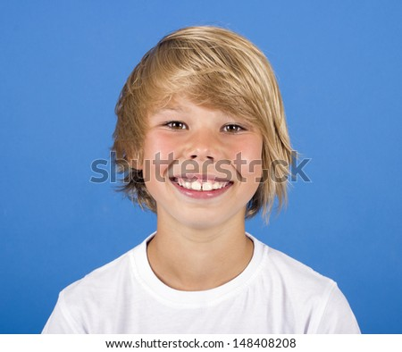 adorable young happy boy - stock photo