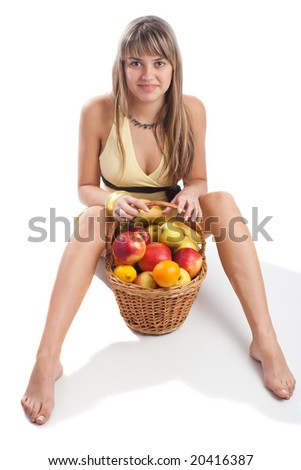 Adorable young lady sitting with fruit basket, isolated