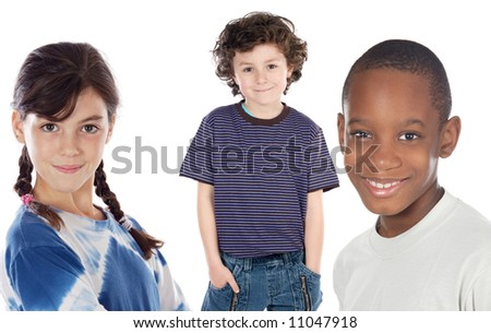 adorables children - a over white background -