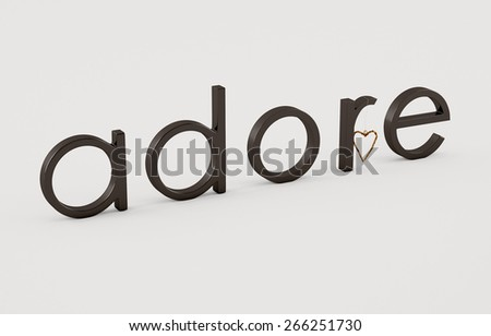 Adore word on white background with golden heart