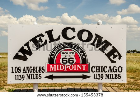 Adrian, Texas, is the halfway point for travelers on Route 66. Chicago and Los Angeles are each 1139 miles from Adrian. - stock photo