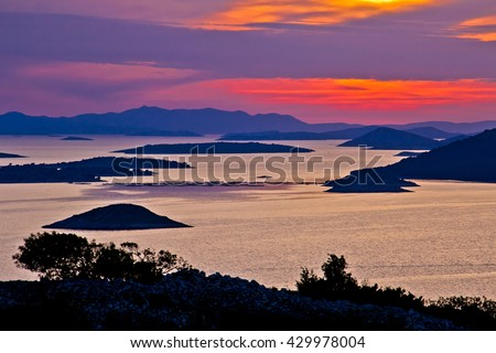Adriatic archipelago aerial view at sunset, islands of Croatia near Kornati national park - stock photo