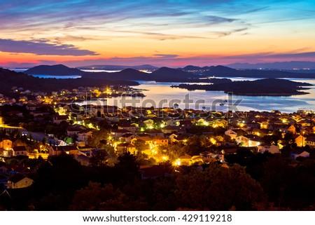 Adriatic archipelago at sunset from Murter island view, Dalmatia, Croatia - stock photo
