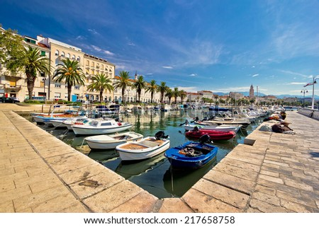 Adriatic city of Split seafront view, tourist destination in Croatia, Dalmatia - stock photo