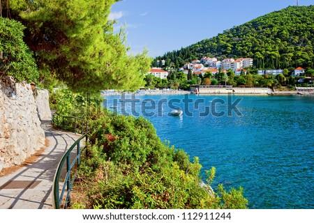 Adriatic Sea bay summer holiday tranquil scenery in Dubrovnik, Croatia, Dalmatia region. - stock photo