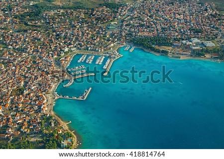 Adriatic Sea coastal town in Croatia - stock photo