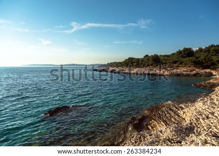 Adriatic Sea coastline in Croatia, Premantura - stock photo