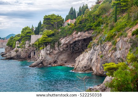 Adriatic Sea coastline in Dubrovnik, Dalmatia, Croatia