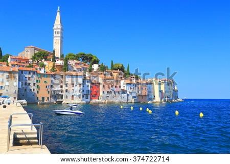 Adriatic sea near the old Venetian town of Rovinj, Croatia - stock photo