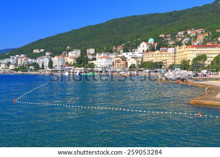 Adriatic sea shore with traditional hotels and beaches, Opatija, Croatia - stock photo