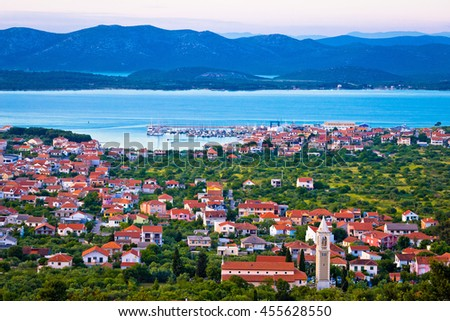 Adriatic town of Murter bay aerial view, Dalmatia, Croatia - stock photo