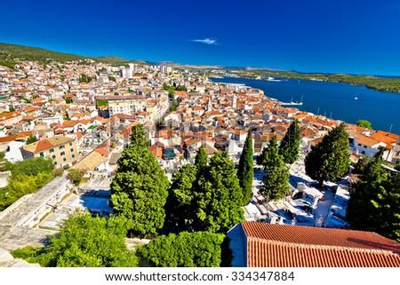 Adriatic town of Sibenik aerial view, Dalmatia, Croatia - stock photo