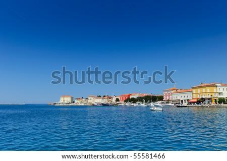 Adriatic town Porec. Croatian coast, Istria region, popular tourist destination - stock photo
