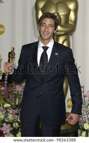 ADRIEN BRODY at the 75th Academy Awards at the Kodak Theatre, Hollywood, California. March 23, 2003 - stock photo
