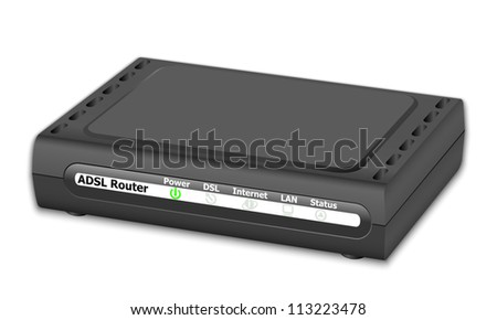 ADSL Router on white background
