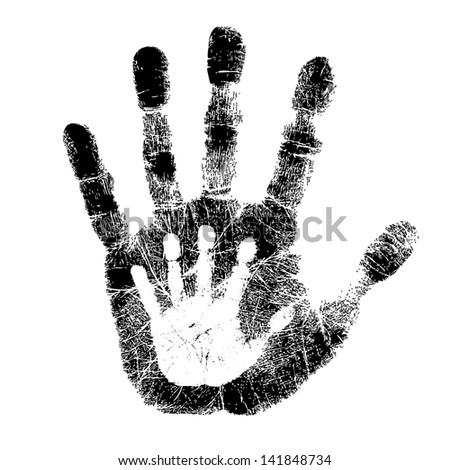 Adult and child hand print - stock photo