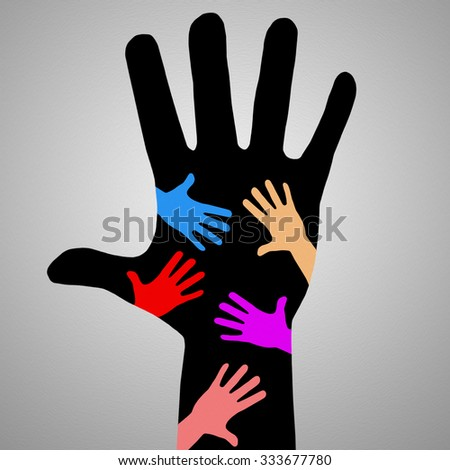 Adult and child hand print. big family. colorful human palm illustration