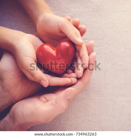 adult and child hands holding red heart, health care love and family concept