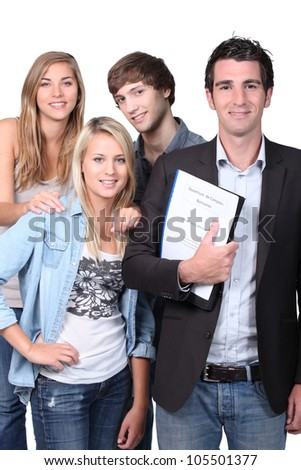 Adult and teenagers smiling