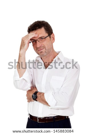 adult businessman frustrated stressed headache isolated on white - stock photo