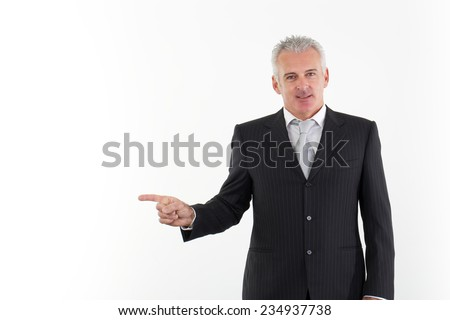 adult businessman pointing