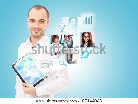 Adult businessman using his tablet computer to communicate his team. Virtual meeting technology for global business concept