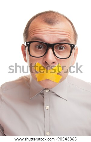 Adult businessman with taped mouth isolated on white background - stock photo