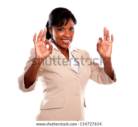 Adult businesswoman saying great job against white background - stock photo