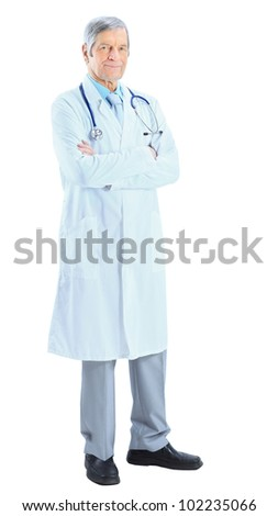 Adult by an experienced doctor. Isolated on a white background.