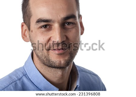 adult casual business male portrait on white background