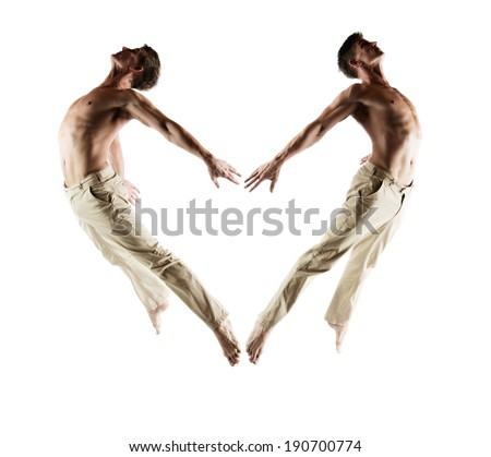Adult caucasian male dancer wearing beige pants. Image is isolated on a white background. - stock photo