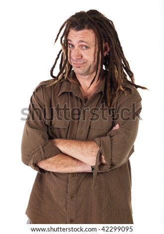Adult caucasian man with dreadlocks and casual wear on a white background in various poses and facial expressions. Not Isolated - stock photo