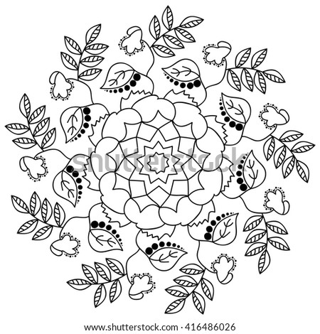 Adult Coloring Anti Stress Mandala Flower With Leaves Peony
