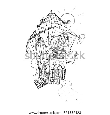 adult coloring book page mono color black ink illustration art fairy house with
