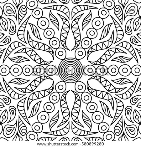Adult Coloring Book Page Seamless Ornate Black And White Pattern For Wallpaper