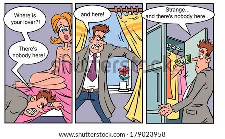 Adult comics strip 1 - stock photo