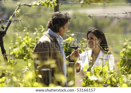 Adult couple in a vineyard - stock photo