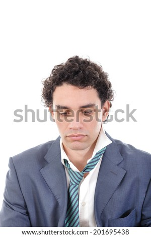 adult disappointed man in suit  looking down, isolated on white background. Trouble in life