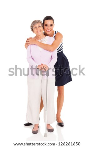 adult granddaughter and senior grandmother isolated on white - stock photo