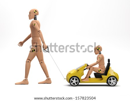 Adult Male Crash Test Dummy with Child Dummy II - stock photo