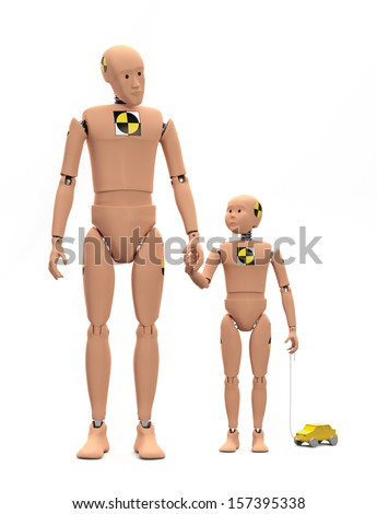 Adult Male Crash Test Dummy with Child Dummy isolated  - stock photo
