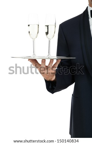 adult male waiter serving two glass of champagne isolated on white - stock photo