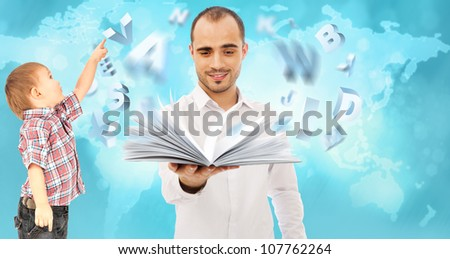 Adult man and his child. Education concept - stock photo