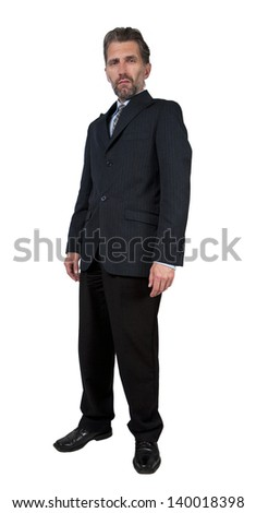adult man dressed in business suit with scornful look - stock photo
