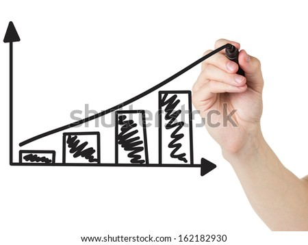 adult man hand draw a graph with positive dynamics, isolated - stock photo