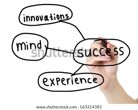 adult man hand drawn diagram of components of success, isolated