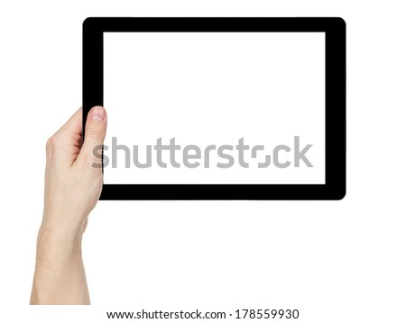 adult man hand holding generic tablet pc with white screen, isolated on white - stock photo