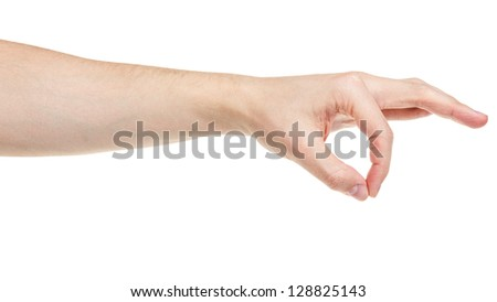 adult man hand holding something, isolated on white