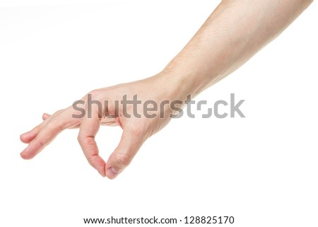 adult man hand holding something, isolated on white - stock photo