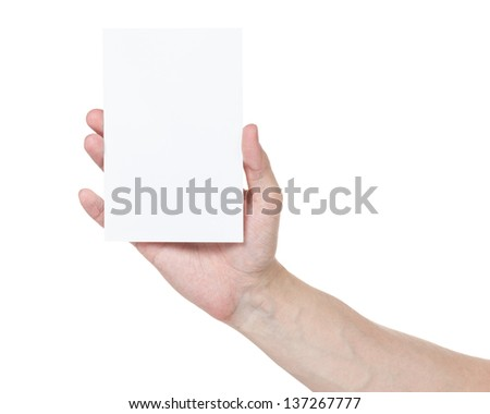 adult man hand showing blank medium size paper card, isolated on white